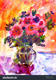 flower in vase drawing kids drawing colorful bouquet flowers small stock illustration