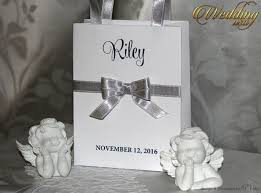 silver party favors small personalized bridesmaid gift bags with white lace silver