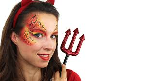 devil makeup easy halloween face paint tutorial youtube