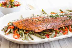 one pan roasted harissa salmon with vegetables recipe
