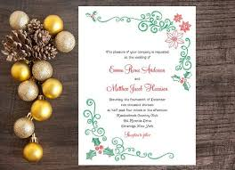christmas wedding invitation mistletoe and poinsettia invitation