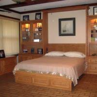Cabinet Bed Vancouver Furniture Brown Wooden Wall Bed With Display Cabinet And Storage