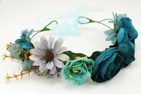 teal flowers teal color silk flower crwon
