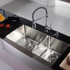 kitchen stainless steel farmhouse sink with handle sprayer faucet