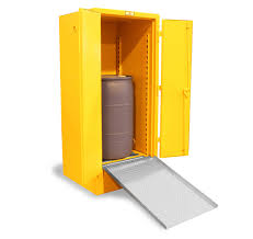 Yellow Storage Cabinet Strong Hold Products Drum Storage Cabinet With Ramp And Rollers