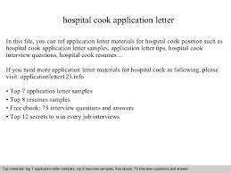 Resume Sample For Cook Position by Hospital Cook Application Letter