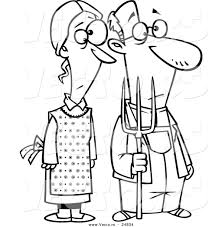 vector of a cartoon gothic farm couple with a pitch fork