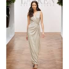 lauren by ralph lauren sleeveless metallic gown in metallic lyst