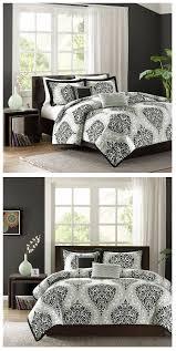 Gray Twin Xl Comforter Black White Grey Damask Scroll Teen Bedding Twin Xl Full Queen
