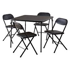 average card table size cosco 5 piece card table set black walmart com