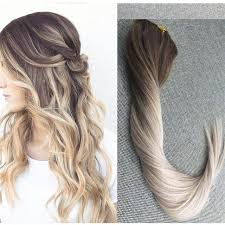 ombre clip in hair extensions shine ombre color 5 20 24 clip in real human hair extensions