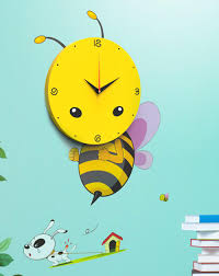 cartoon 3d bee wall sticker wall clock with diy wall paper