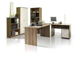 Eckschreibtisch Nussbaum Office Compact Heimbüro 5tlg Walnuss Weiß Dekor