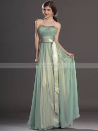 bridesmaid gown strapless pleated a line chiffon bridesmaid dress with tailed