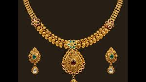 gold necklace sets images Latest indian light weight gold short necklace set designs jpg
