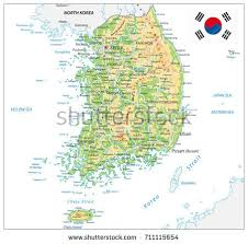 pusan on map south korea physical map on white stock vector 711115654