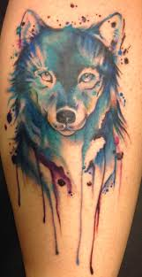 geometric watercolor wolf tattoo real photo pictures images and