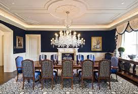 dining room ceiling ideas stunning blue dining room with large chandelier fireplace