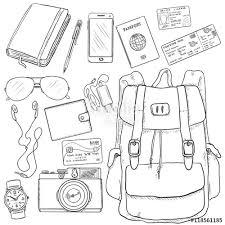 vector sketch travel set backpack camera watch credit card