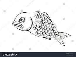 fish cartoon by free hand pen stock illustration 439785850