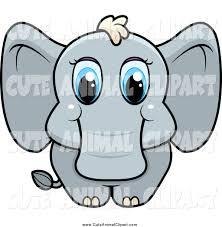 vector cartoon clip art of a cute baby elephant with blue eyes by