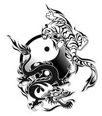 black ink tiger with yin yang design