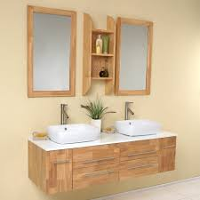 bathroom 374566 l bamboo double vanity cabinet vessel stone top
