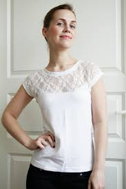 Blouse With Big Bow Diy Romantic Lace T Shirt And Pattern Pearls And Scissors