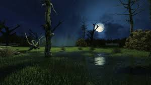 sinister fairytale scenery with fantastic big moon above creepy
