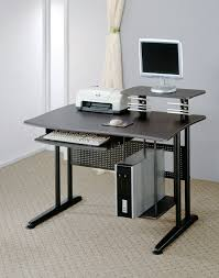 Small Steel Desk Rectangle Black Steel Desk With Additional Small Layer On The Top