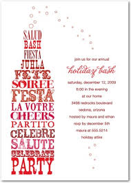 uncorked cheer flat holiday party invitations in spanish red