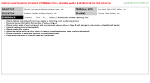 Maintenance Technician Job Description Resume by Maintenance Worker Swimming Pool Resume Sample