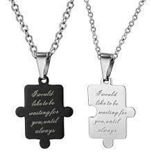couples necklace images Black and white stainless steel couples necklaces pendants couple jpg