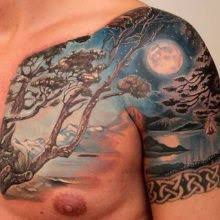 scary oak tree and moon on forearms moon