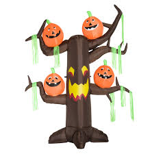 halloween decorations inflatables homcom 8 u0027 haunted tree with jack o lantern pumpkins halloween led