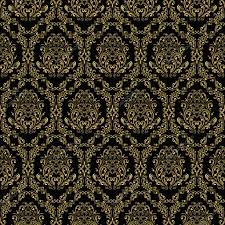 seamless retro wallpaper in victorian style gold on black
