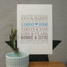 cadeau de mariage personnalis affiche personnalisée couples légendaires avec prénoms