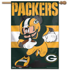 Mickey Mouse Flag Green Bay Packers Mickey Mouse Vertical Banner At Packers Pro Shop