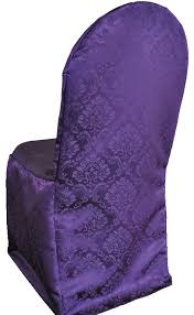 Purple Chair Covers Marquis Damask Jacquared Polyester Banquet Chair Cover Eggplant