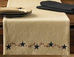 Primitive Table Runners by Table Runners 20662 Black Tan And Red Patchwork Country Star