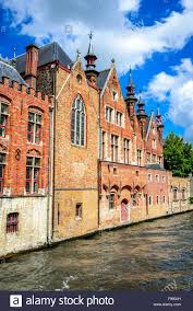 gothic style homes bruges belgium summer scenery with gothic style houses and stock