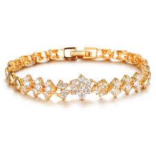 gold wedding bracelet images New fashion 18k real gold bracelets for women luxury white stones jpg