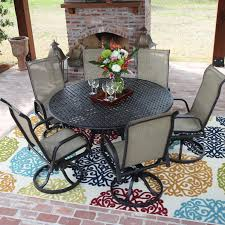 Madison Bay  Piece Sling Patio Dining Set With Swivel Rockers And - 7 piece outdoor dining set with round table