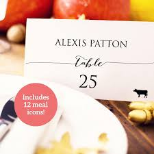 wedding place card template microsoft word wedding escort card 2 weddbook wedding place card with meal icons template diy editable card food icon seating card menu icons wedding printable escort cards