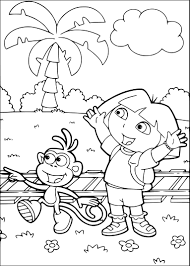 boots and dora the explorer coloring page