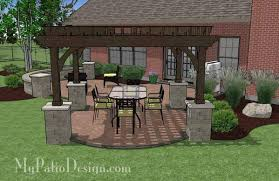 Backyard Brick Patio Design With 12 X 12 Pergola Grill Station by Concrete Paver Patio Design With Pergola Download Plan