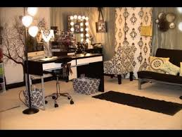 professional makeup lighting furniture black stained portable make up table with shelves and