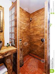 interior of a modern wooden shower cabin stock photo image 54792643