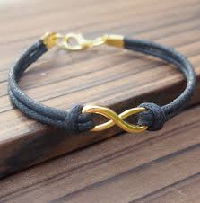 Custom Gold Bracelets Mens Gold Infinity Bracelet Wholesale Online Quality Black Wax