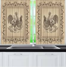 curtains for kitchen rustic rooster hen window set vintage farm animal